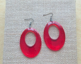 Large Red Oval Dangle Hoop Earrings Vintage Lucite Pierced Wires
