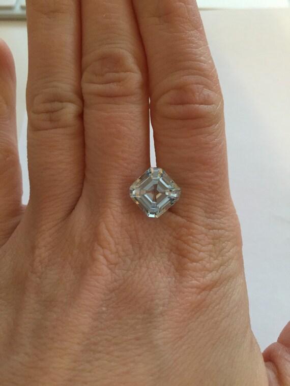 Engagement Ring Blue Aquamarine Gemstone, Asscher cut 5.35 carats Square Octagon, diamond alternative