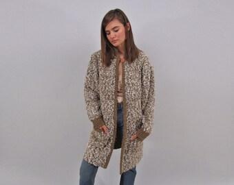 80s Oversized Nubby Cardigan / Long Cardigan / Sweater Coat / Draped Sweater Cardigan Δ fits sizes: M/L