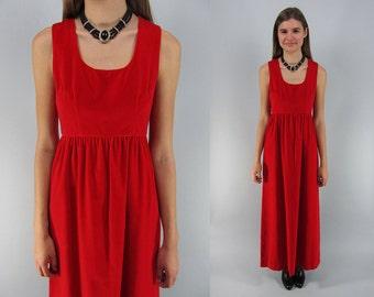 Vintage 60s Velvet Maxi Dress, Party Dress, Evening Dress, 60s Empire-Waist Dress Δ size: xs / sm