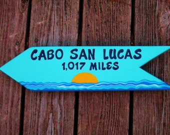 Custom Vacation Sign, Resort Sign, Location Sign, Directional Sign, Destination Sign, Hand Painted Personalized Sign, Directional Arrow