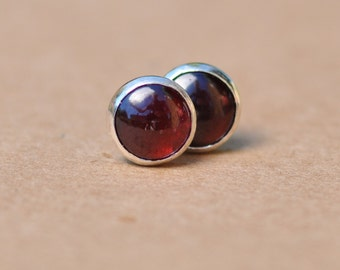 Garnet Earrings with Sterling Silver Studs. 8mm Garnet gemstones with silver settings