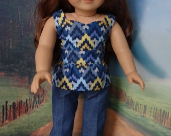 Peplum top and skinny jeans for American Girl or similar 18 inch doll.