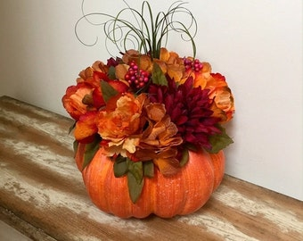 ON SALE Pumpkin Centerpiece Thanksgiving Fall Floral Table Centerpiece Autumn Home Decor Fall Floral Arrangement