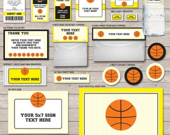 Basketball Birthday Party Printables Set - Yellow & Black - full Package - INSTANT DOWNLOAD with EDITABLE text - you personalize at home