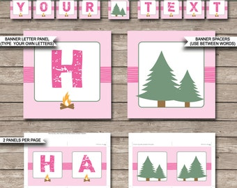 Girls Camping Party Banner - Happy Birthday Banner - Custom Banner - Party Decorations - Bunting - INSTANT DOWNLOAD with EDITABLE text