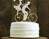 Rustic Bike Wedding Cake Topper with Bride and Groom Silhouettes on Bicycle