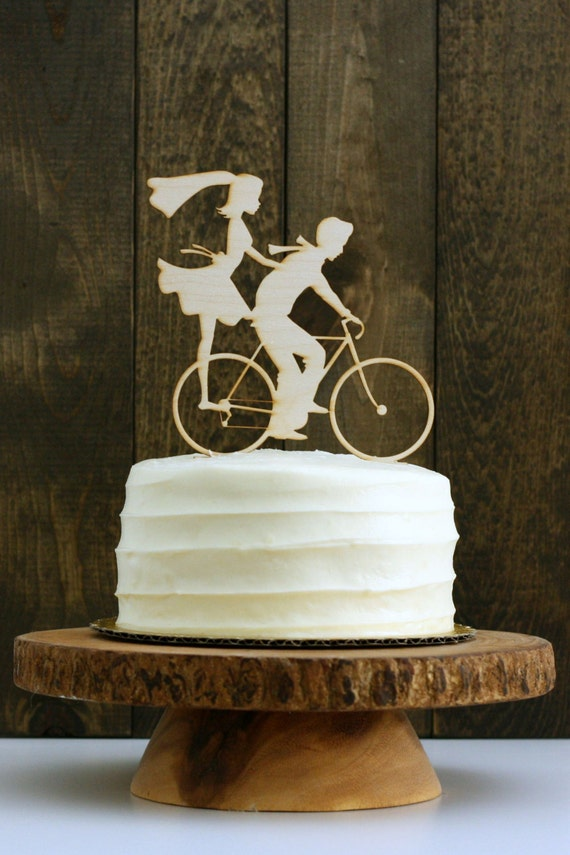 rustic wedding cake toppers uk rustic bike wedding cake topper with and groom 19588