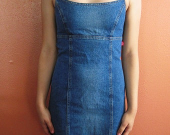 Vintage Denim Mini Dress with Cut Out Lace Up Back