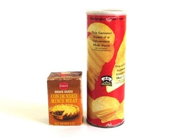 1970s Groceries Food Packaging Pringles Potato Chip Can None Such Mincemeat Box Borden