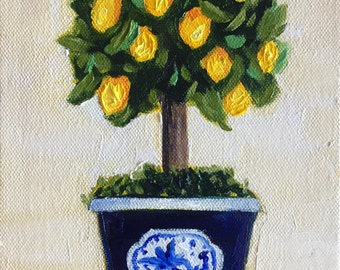 Original oil painting:  Lemon Tree Topiairy in Blue and White Pot, Small canvas, original, fine art , still life, gift, chinoiserie art