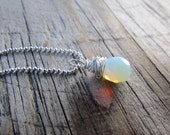 Opalite Necklace, small pendant, wire wrapped, faceted, opalite drop