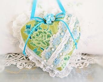 Sachet Heart Ornament 6 inch  Ruffled Heart, Aqua Teal Olive Green, Heart Sachet, Folk Art, Handmade CharlotteStyle Decorative Folk Art