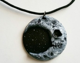 Jack in the Moon - hand sculpted moon art pendant
