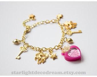 Chibimoon Inspired Charm Bracelet Sailor Moon Inspired for Mahou Kei & Magical Girl Fashion