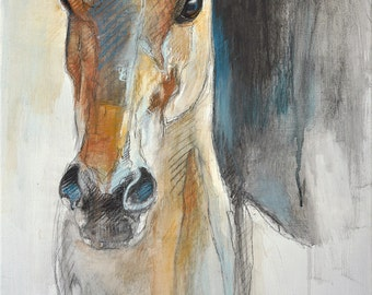 "12"" x 16"" / 16"" x 24"" - ""Alert X"" Photo print of a Horse Head Drawing"