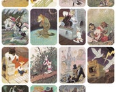 Russian Tales About Animals, Drawings by E. Rachev. Set of 15 Prints, Postcards -- 1960s-1980s