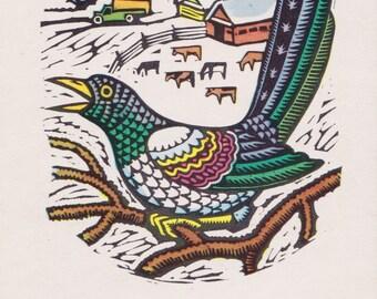 "Postcard Drawing by Y. Gimelbrand, V. Simonov ""Magpie"" -- 1972"