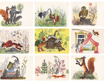 Various Russian Folk Tales and Songs, Drawings by Y. Vasnetsov. Set of 9 Vintage Postcards (out of 16) plus original cover -- 1969