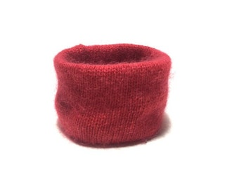 X Small Red Angora and Wool Blend Winter Dog Neck Warmer, Designer Pet Puppy Accessory