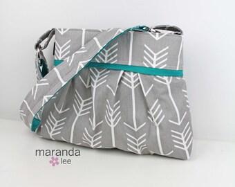Stella Arrow Diaper Bag - Medium -Arrows Grey with Teal - Nappy Bag Baby Gear - 6 pockets Adjustable Strap Attach to Stroller