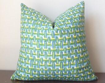 Azure pillow, Basketweave Designer Pillow, High End Pillows, Robert Allen, Green Blue Yellow Throw Pillow, PillowSplash
