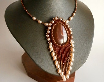 Agate Necklace, Pearl Necklace, Statement Necklace, Beadwork Stone jewelry