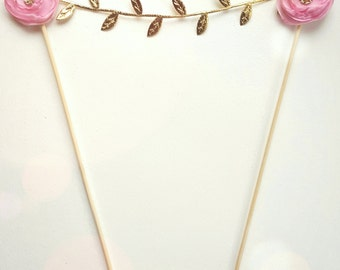 Gold and Blush Garland - Cake Garland - Cake Bunting - Wedding Decoration - Brithday Decor - Bridal Shower Decor Pink - First Birthday