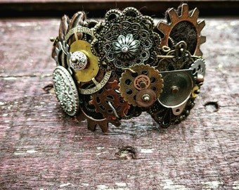 Steampunk Industrial Neo-Victorian Repurposed Handmade Ooak Machinery Filigree Lace Collage Cuff Bracelet