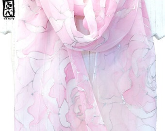 Hand Painted Silk Scarf, Gift for her, Gift for Women, Silver, Pink Ethereal Peony Scarf, Long Chiffon Scarf, Floral Scarf, 11x90 inches