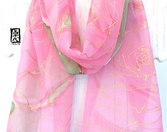 Silk Scarf Handpainted, Gift for her, Birthday Gift, Silk Scarf Pink, Pastel Pink and Gold Roses Scarf, 11x60 inches. Made to order