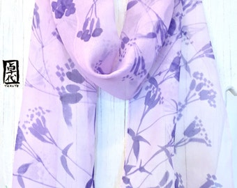 Silk scarf Handpainted, Gift for her, Summer Scarf, Purple Scarf, Pastel Purple Zen Wildflowers Scarf, Silk Scarves Takuyo, 8x54 inches