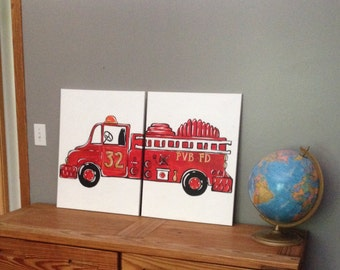 "vintage fire truck art. 24""x 36"" total size. original painting. red room decor. personalized with name. made from 2 canvases, each 18""x24"""