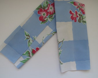 Vintage Floral Long Kitchen Tea Dish Towel Red Flowers Blue White Dresser Scarf Shabby Chic Country Cottage Fabric Vintage Table Linens
