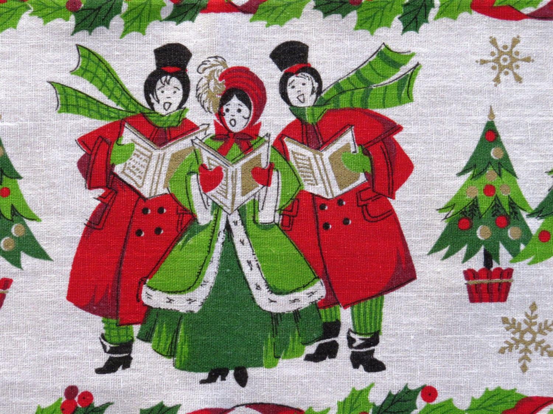 Vintage Christmas Carolers Tablecloth 1960s Christmas