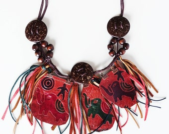 Ethnic bib necklace, ART TO WEAR, Red leather, exotic Elephant theme jewelry, Boho necklace, fringe tribal necklace, Statement painted bib,