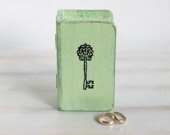 Sage green wedding box Wedding ring box Personalized ring bearer box Ring box Jewelry box Ring holder Personalized ring box Ring book box