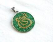 Mexican Tribal Pendant Alpaca Green Stone and Brass Vintage Charm Aztec mayan Symbol