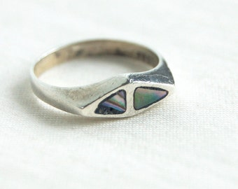 Mexican Abalone Ring Size 6 .5 Vintage Sterling Silver Triangle Band Minimalist Mexican Jewelry