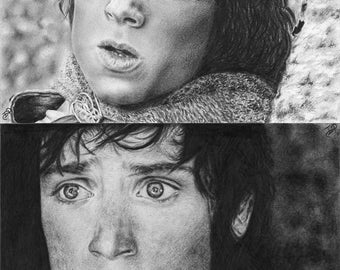 2x Frodo Baggins Elijah Wood LotR Original Pencil Drawings The Hobbit Fantasy Tolkien Realistic