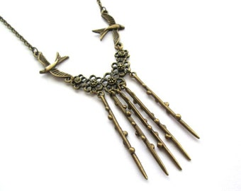 Swallow necklace jewelry antique bronze brass flower twig necklace vintage style