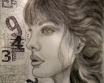 """Original Charcoal Drawing """"Numbers"""" by Lore"""