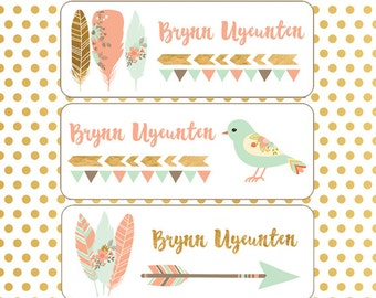 Daycare Name Labels, Girl, School Name Labels, Baby Bottle Labels, Waterproof Labels, Dishwasher Safe, Birds, Flowers, Feathers, Pink, Mint