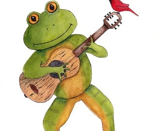 Frog Playing a Guitar Print of Watercolor Painting,whimsical,nursery art, wall art,animal,frog,music,pen and ink,watercolor,guitar