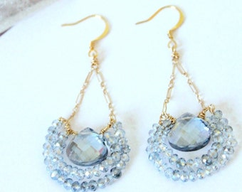 Two-Tone Blue Gray Briolette/ Pear/ Teardrop and Blue Gray Rondelle Crystal Beads on 14K Gold Chain Hooks