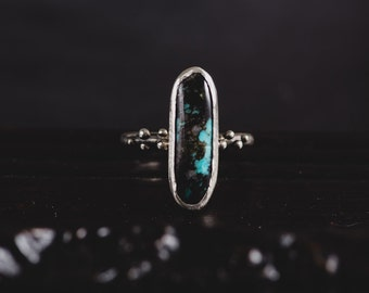 Kingman Turquoise Ring-Sterling Silver Turquoise Ring-Sterling Silver Kingman Ring-Boho Chic Delicate Turquoise Ring-Turquoise Ring Size 6