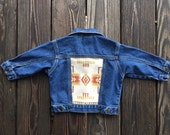 Vintage Levi's Denim Jacket with Neutral Pendleton Back. Size 12 Month / 1 Year