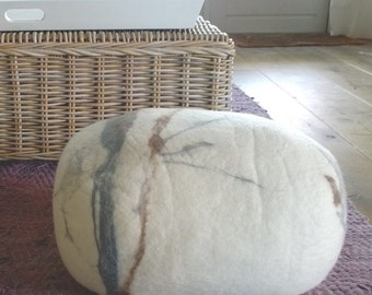 Soft stone Earth- White felted stone rock boulder pebble pillow or pouf