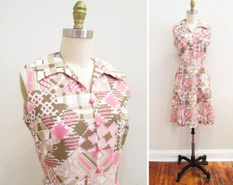 Vintage 1960s Dress | Pink Abstract Patchwork Print 1960s Mod Dress | size small