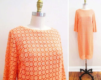 Vintage 1960s Dress | Mod Peachy Pink Rhinestone Studded 1960s Party Dress | size small - medium